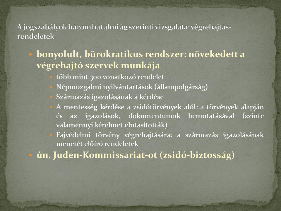 bonyolult, bürokratikus rendszer: növekedett a végrehajtó szervek munkája több mint 300 vonatkozó rendelet Népmozgalmi nyilvántartások (állampolgárság) Származás igazolásának a kérdése A mentesség kérdése a zsidótörvények alól: a törvények alapján és az igazolások, dokumentumok bemutatásával (szinte valamennyi kérelmet elutasították) Fajvédelmi törvény végrehajtására: a származás igazolásának menetét előíró rendeletek ún.