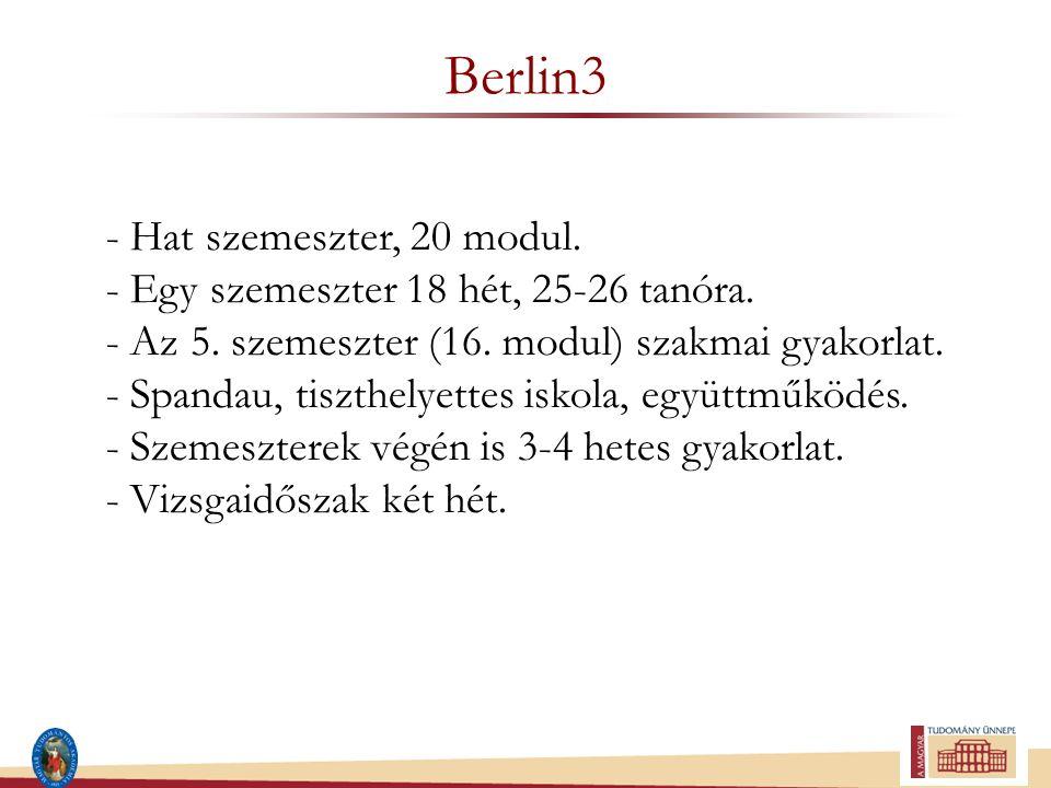 Berlin3 - Hat szemeszter, 20 modul. - Egy szemeszter 18 hét, 25-26 tanóra. - Az 5. szemeszter (16. modul) szakmai gyakorlat. - Spandau, tiszthelyettes