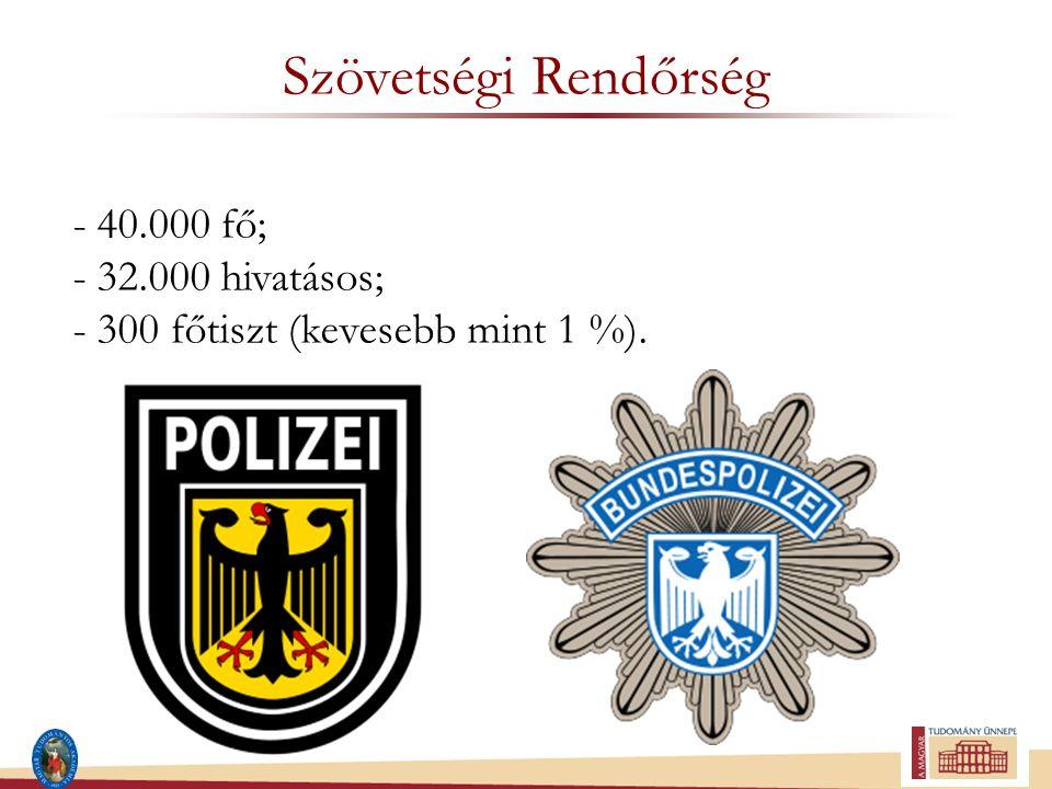 Hivatásos állomány összetétele -Tiszthelyettesek (kivéve hat szervezet); -Tisztek (öt rendfokozat); -Főtisztek (négy rendfokozat) az állomány 1,8 %-a; -Tábornokok.