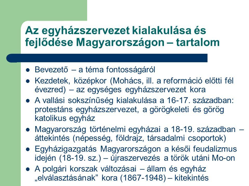 Az egyházszervezet kialakulása és fejlődése Magyarországon – tartalom Bevezető – a téma fontosságáról Kezdetek, középkor (Mohács, ill.