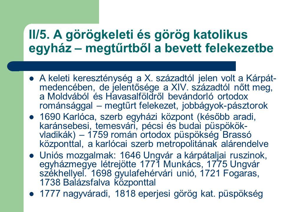 IV.Magyarország történelmi vallásai a 18-19. században – áttekintés A 18-19.