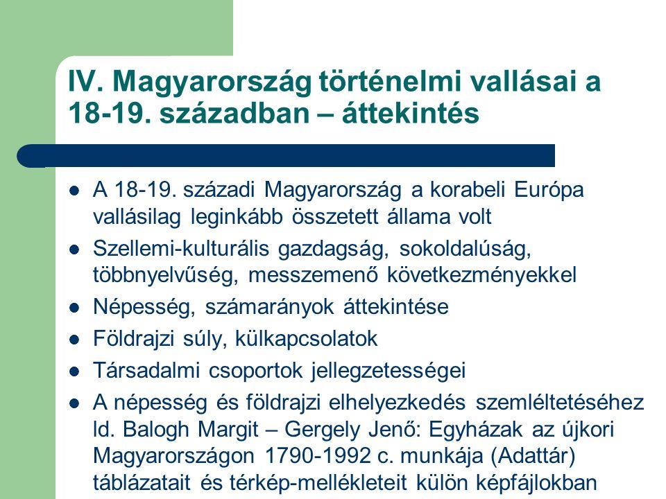 IV/1.Magyarország történelmi egyházai a 18-19.