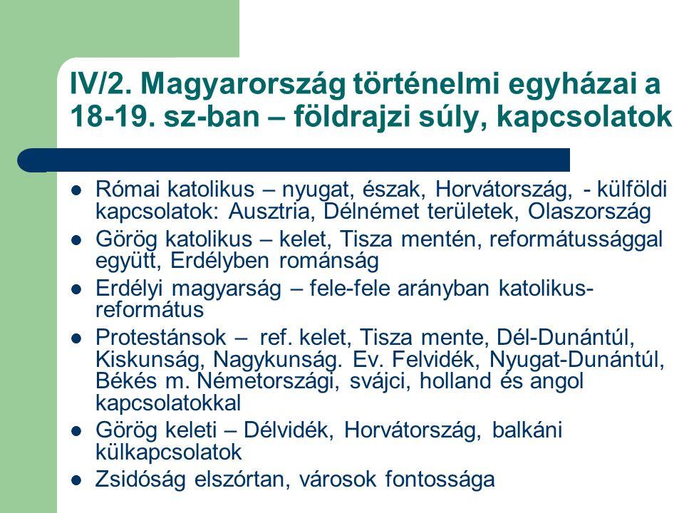 IV/3.Magyarország történelmi egyházai a 18-19.