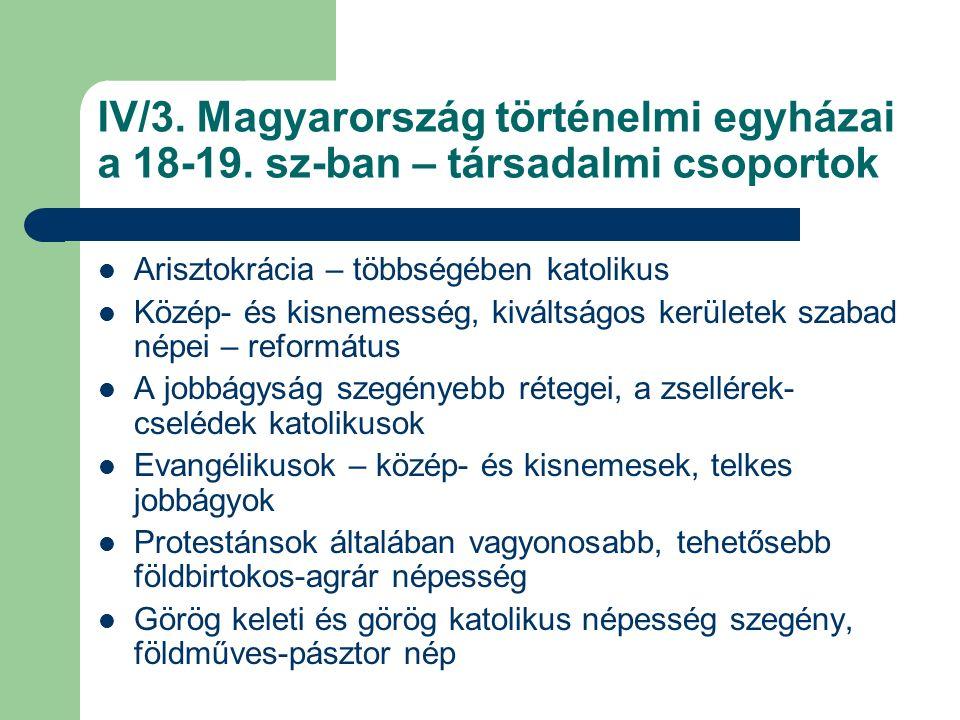 IV/3. Magyarország történelmi egyházai a 18-19.