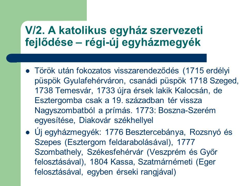 V/2. A katolikus egyház szervezeti fejlődése – régi-új egyházmegyék Török után fokozatos visszarendeződés (1715 erdélyi püspök Gyulafehérváron, csanád