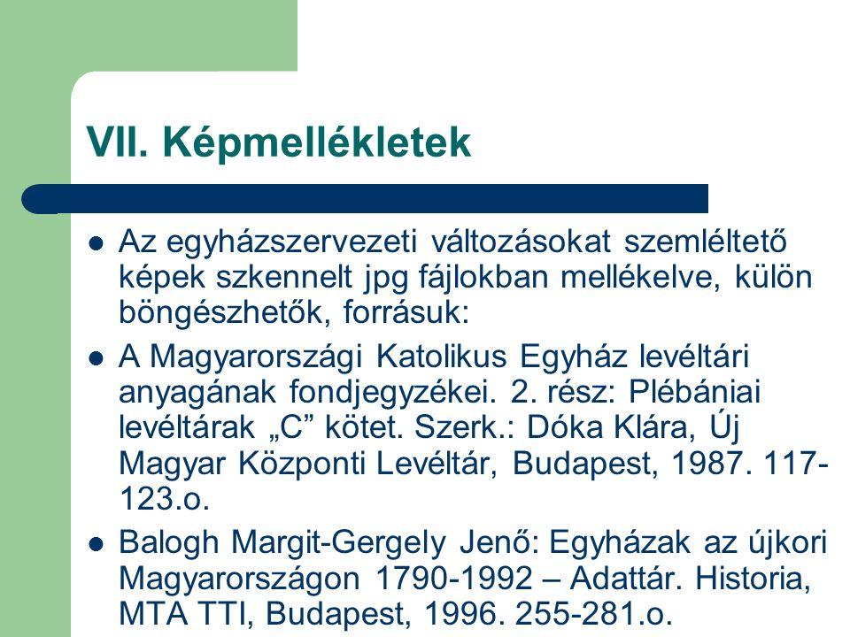 VII. Képmellékletek Az egyházszervezeti változásokat szemléltető képek szkennelt jpg fájlokban mellékelve, külön böngészhetők, forrásuk: A Magyarorszá