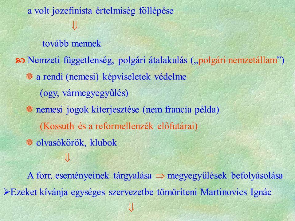 """a volt jozefinista értelmiség föllépése  tovább mennek  Nemzeti függetlenség, polgári átalakulás (""""polgári nemzetállam )  a rendi (nemesi) képviseletek védelme (ogy, vármegyegyűlés)  nemesi jogok kiterjesztése (nem francia példa) (Kossuth és a reformellenzék előfutárai)  olvasókörök, klubok  A forr."""