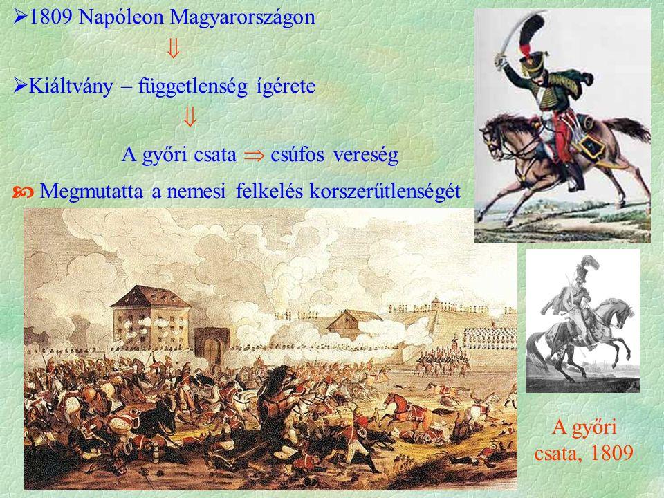  1809 Napóleon Magyarországon   Kiáltvány – függetlenség ígérete  A győri csata  csúfos vereség  Megmutatta a nemesi felkelés korszerűtlenségét A győri csata, 1809