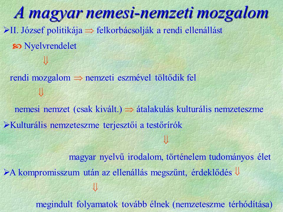  II. József politikája  felkorbácsolják a rendi ellenállást  Nyelvrendelet  rendi mozgalom  nemzeti eszmével töltődik fel  nemesi nemzet (csak k