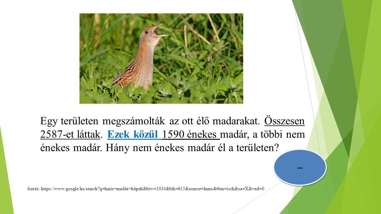 Egy területen megszámolták az ott élő madarakat. Összesen 2587-et láttak. Ezek közül 1590 énekes madár, a többi nem énekes madár. Hány nem énekes madá