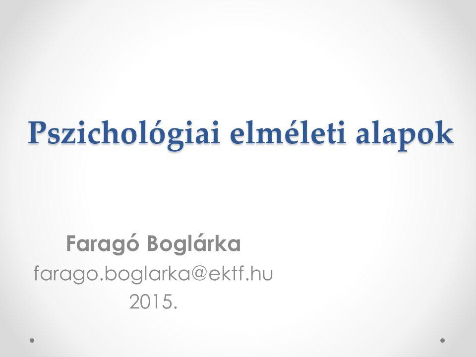 Pszichológiai elméleti alapok Faragó Boglárka farago.boglarka@ektf.hu 2015.