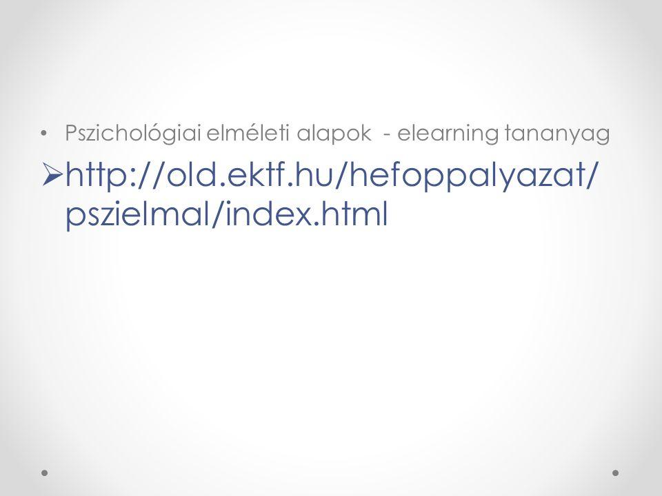 Pszichológiai elméleti alapok - elearning tananyag  http://old.ektf.hu/hefoppalyazat/ pszielmal/index.html