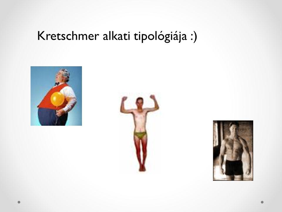 Kretschmer alkati tipológiája TestalkatVérmérsékletPszichiátriai megbetegedés PiknikusCiklotimMániás depresszió Aszténiás (leptoszóm) SkizotimSkizofrénia AtlétikusViszkózusEpilepszia