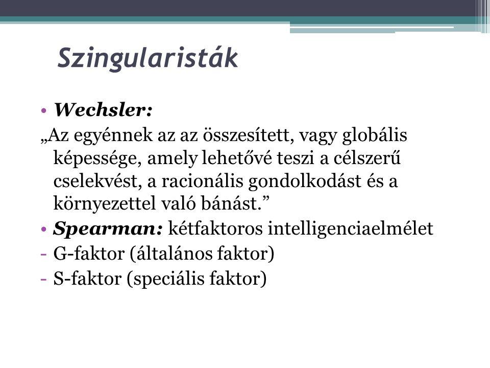 """Az intelligencia megközelítései """"Szingularisták"""": az intelligencia egy egységes képesség, amely a többi intellektuális képességünket is meghatározza."""