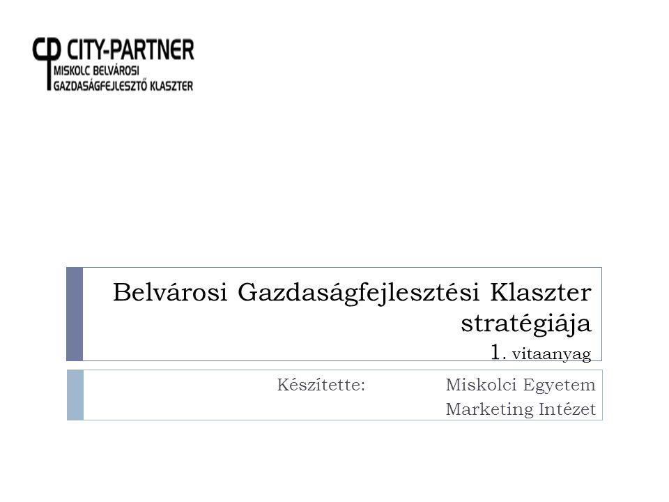 A STRATÉGIA CÉLJA 2  A City-Partner Miskolc - Belvárosi Gazdaságfejlesztési Klaszter azzal a céllal jött létre, hogy – elsősorban a gazdaság, a kereskedelem lehetőségei oldaláról kiindulva, s érdekei érvényesítést segítve – hozzájáruljon Miskolc belvárosának fejlesztéséhez, újraélénkítéséhez, egy olyan környezet kialakításához, amelyben az érintett felek, a lakosság, a vállalkozások és a turisták élet- és tartózkodási minősége javul, fenntarthatóvá válik.
