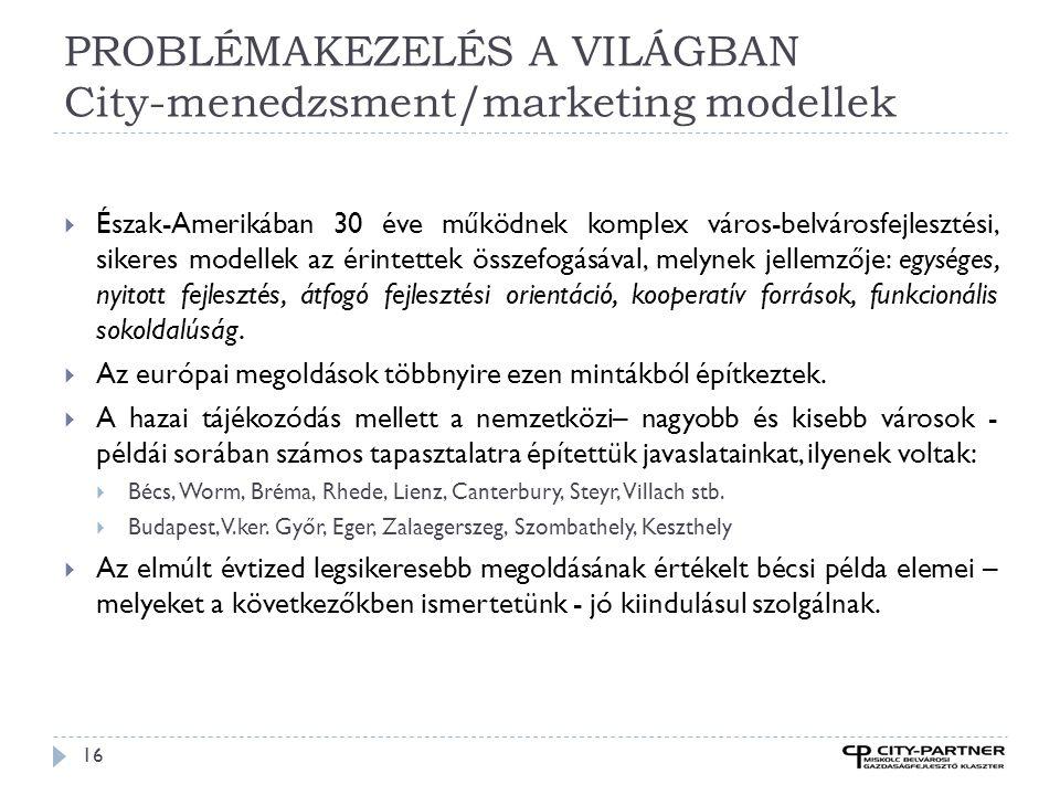 PROBLÉMAKEZELÉS A VILÁGBAN City-menedzsment/marketing modellek 16  Észak-Amerikában 30 éve működnek komplex város-belvárosfejlesztési, sikeres modell