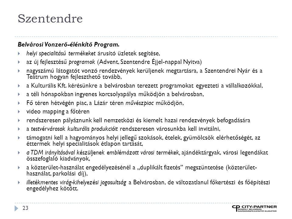 Szentendre 23 Belvárosi Vonzerő-élénkítő Program.  helyi specialitású termékeket árusító üzletek segítése,  az új fejlesztésű programok (Advent, Sze