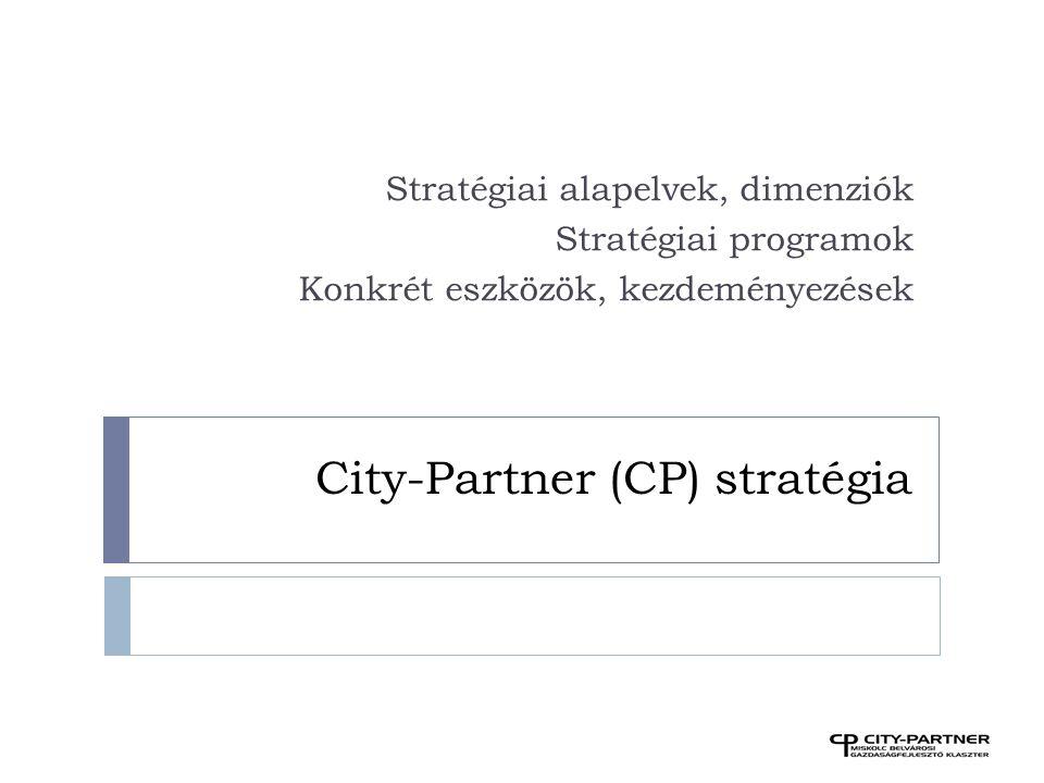 City-Partner (CP) stratégia Stratégiai alapelvek, dimenziók Stratégiai programok Konkrét eszközök, kezdeményezések