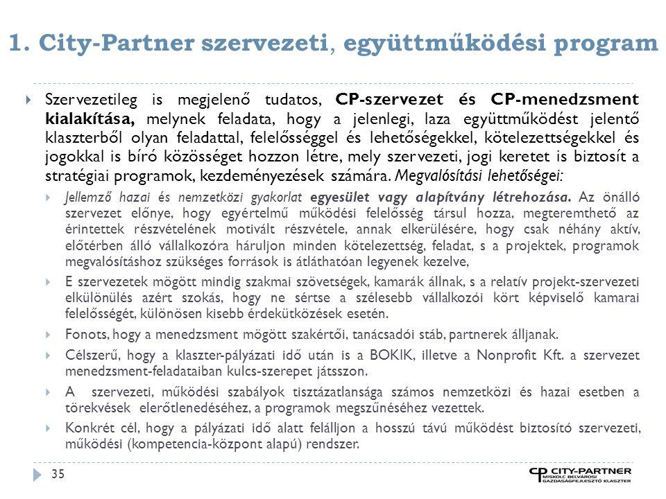 1. City-Partner szervezeti, együttműködési program 35  Szervezetileg is megjelenő tudatos, CP-szervezet és CP-menedzsment kialakítása, melynek felada