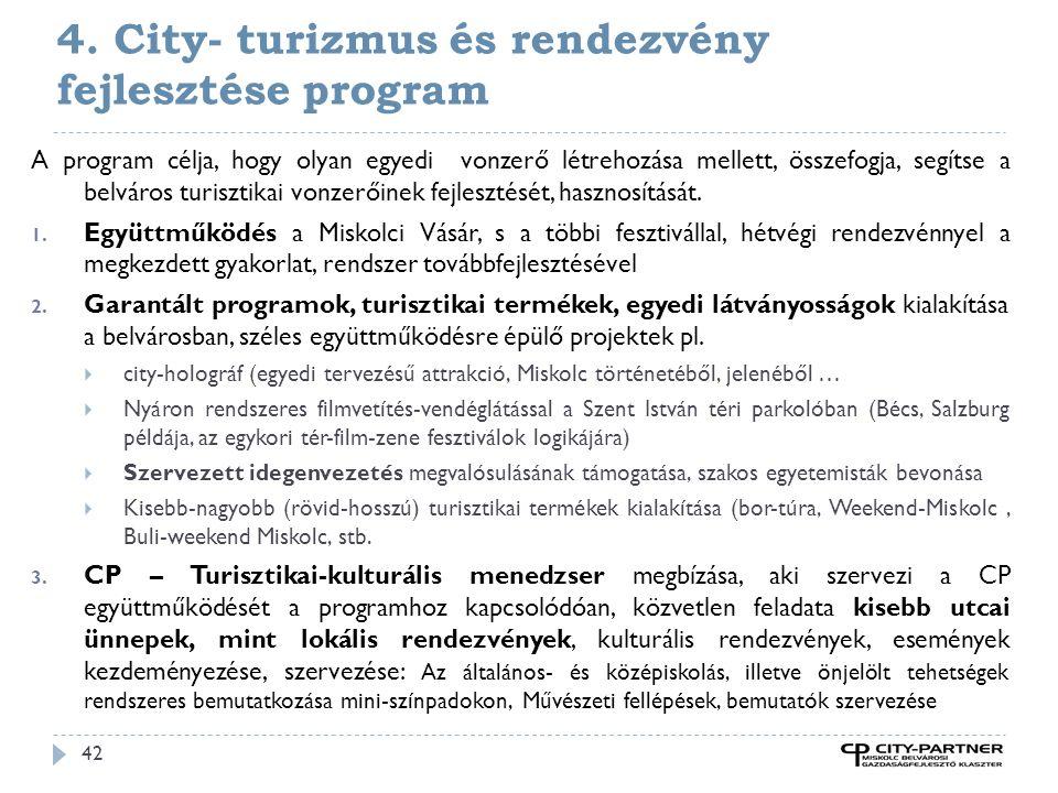 4. City- turizmus és rendezvény fejlesztése program 42 A program célja, hogy olyan egyedi vonzerő létrehozása mellett, összefogja, segítse a belváros