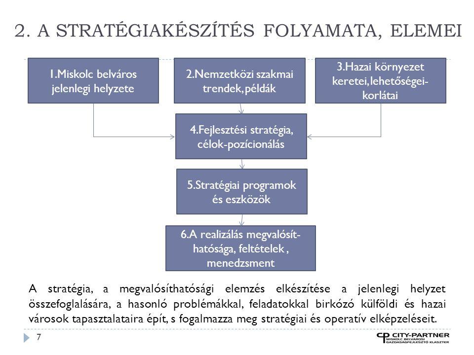 2. A STRATÉGIAKÉSZÍTÉS FOLYAMATA, ELEMEI 7 A stratégia, a megvalósíthatósági elemzés elkészítése a jelenlegi helyzet összefoglalására, a hasonló probl