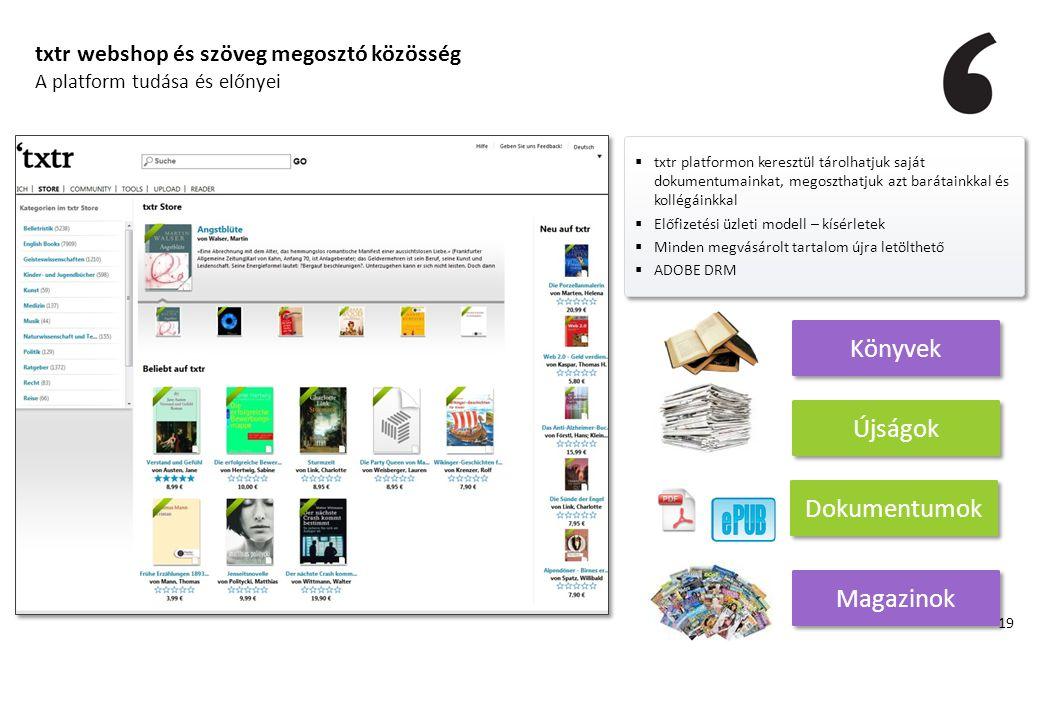 txtr webshop és szöveg megosztó közösség A platform tudása és előnyei  txtr platformon keresztül tárolhatjuk saját dokumentumainkat, megoszthatjuk az