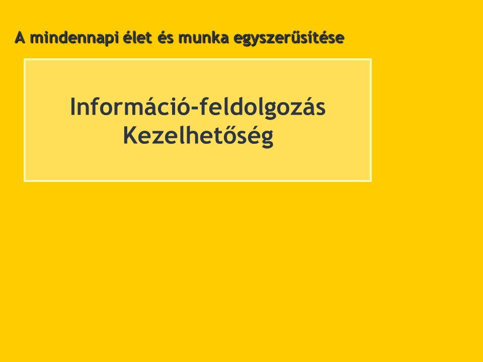 Információ-feldolgozás Kezelhetőség A mindennapi élet és munka egyszerűsítése