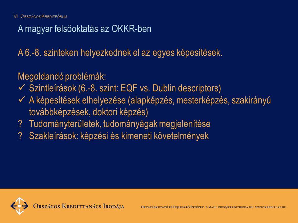 VI. O RSZÁGOS K REDITFÓRUM A magyar felsőoktatás az OKKR-ben A 6.-8.