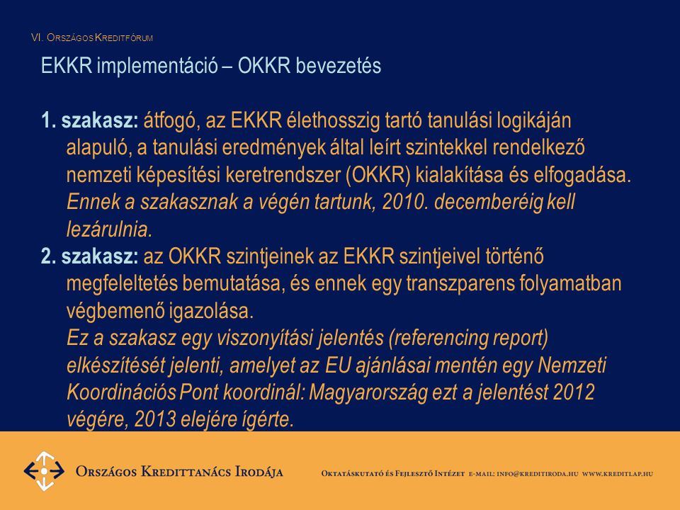 VI. O RSZÁGOS K REDITFÓRUM EKKR implementáció – OKKR bevezetés 1.