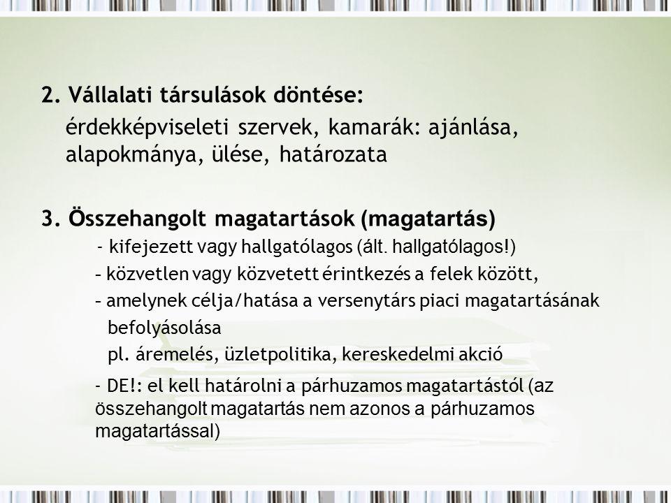 2. Vállalati társulások döntése: érdekképviseleti szervek, kamarák: ajánlása, alapokmánya, ülése, határozata 3. Ö sszehangolt magatartások (magatartás