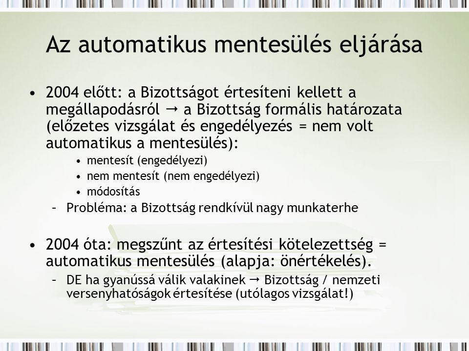 Az automatikus mentesülés eljárása 2004 előtt: a Bizottságot értesíteni kellett a megállapodásról  a Bizottság formális határozata (előzetes vizsgálat és engedélyezés = nem volt automatikus a mentesülés): mentesít (engedélyezi) nem mentesít (nem engedélyezi) módosítás –Probléma: a Bizottság rendkívül nagy munkaterhe 2004 óta: megszűnt az értesítési kötelezettség = automatikus mentesülés (alapja: önértékelés).