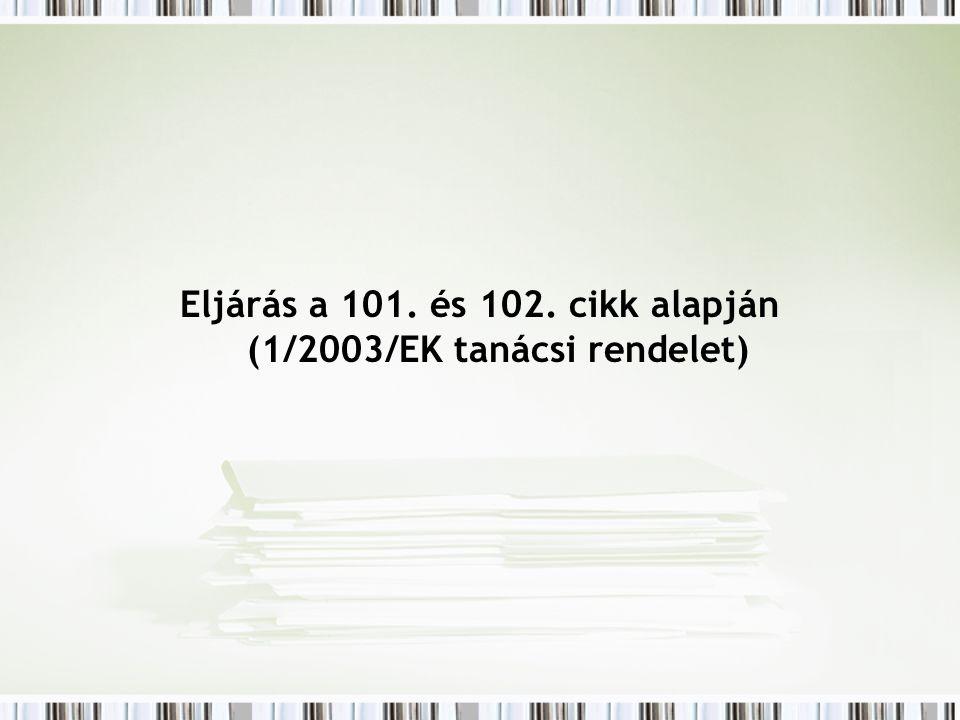 Eljárás a 101. és 102. cikk alapján (1/2003/EK tanácsi rendelet)