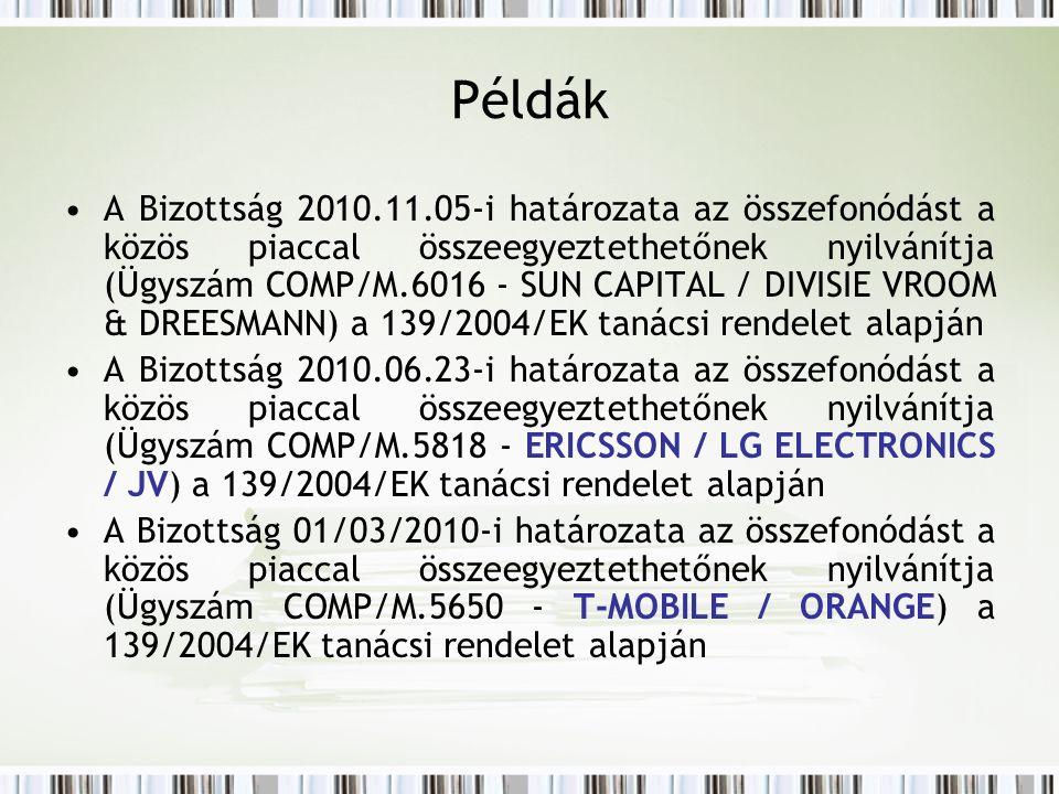 A Bizottság 2010.11.05-i határozata az összefonódást a közös piaccal összeegyeztethetőnek nyilvánítja (Ügyszám COMP/M.6016 - SUN CAPITAL / DIVISIE VROOM & DREESMANN) a 139/2004/EK tanácsi rendelet alapján A Bizottság 2010.06.23-i határozata az összefonódást a közös piaccal összeegyeztethetőnek nyilvánítja (Ügyszám COMP/M.5818 - ERICSSON / LG ELECTRONICS / JV) a 139/2004/EK tanácsi rendelet alapján A Bizottság 01/03/2010-i határozata az összefonódást a közös piaccal összeegyeztethetőnek nyilvánítja (Ügyszám COMP/M.5650 - T-MOBILE / ORANGE) a 139/2004/EK tanácsi rendelet alapján