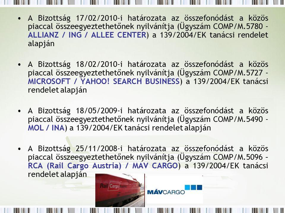 A Bizottság 17/02/2010-i határozata az összefonódást a közös piaccal összeegyeztethetőnek nyilvánítja (Ügyszám COMP/M.5780 - ALLIANZ / ING / ALLEE CENTER) a 139/2004/EK tanácsi rendelet alapján A Bizottság 18/02/2010-i határozata az összefonódást a közös piaccal összeegyeztethetőnek nyilvánítja (Ügyszám COMP/M.5727 - MICROSOFT / YAHOO.