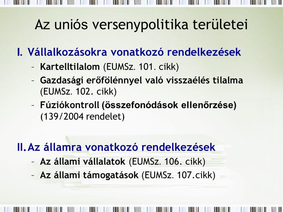 A z uniós versenypolitika területei I. Vállalkozásokra vonatkozó rendelkezések –Kartelltilalom ( EUMSz. 101. cikk ) –Gazdasági erőfölénnyel való vissz