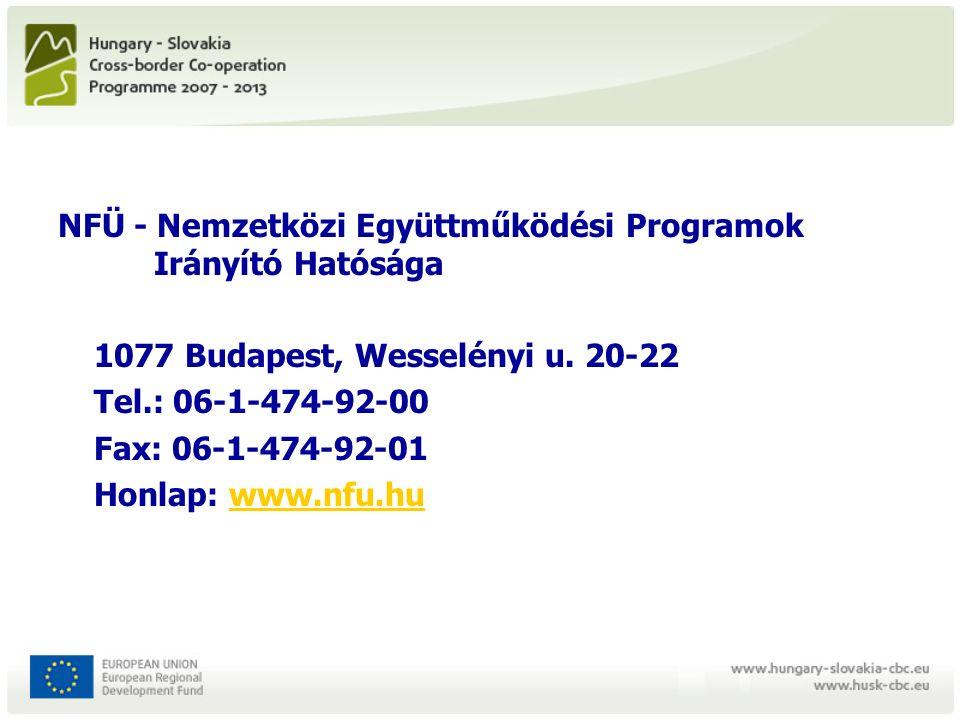 NFÜ - Nemzetközi Együttműködési Programok Irányító Hatósága 1077 Budapest, Wesselényi u.
