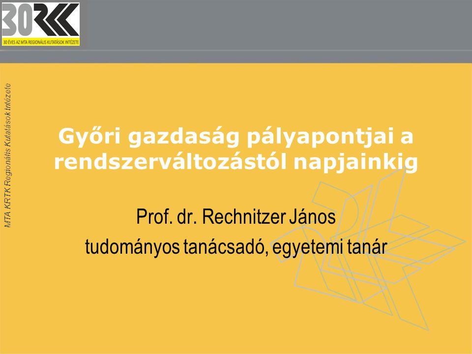 MTA KRTK Regionális Kutatások Intézete Győri gazdaság pályapontjai a rendszerváltozástól napjainkig Prof. dr. Rechnitzer János tudományos tanácsadó, e