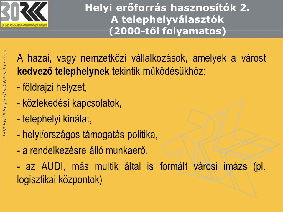 MTA KRTK Regionális Kutatások Intézete Helyi erőforrás hasznosítók 2.