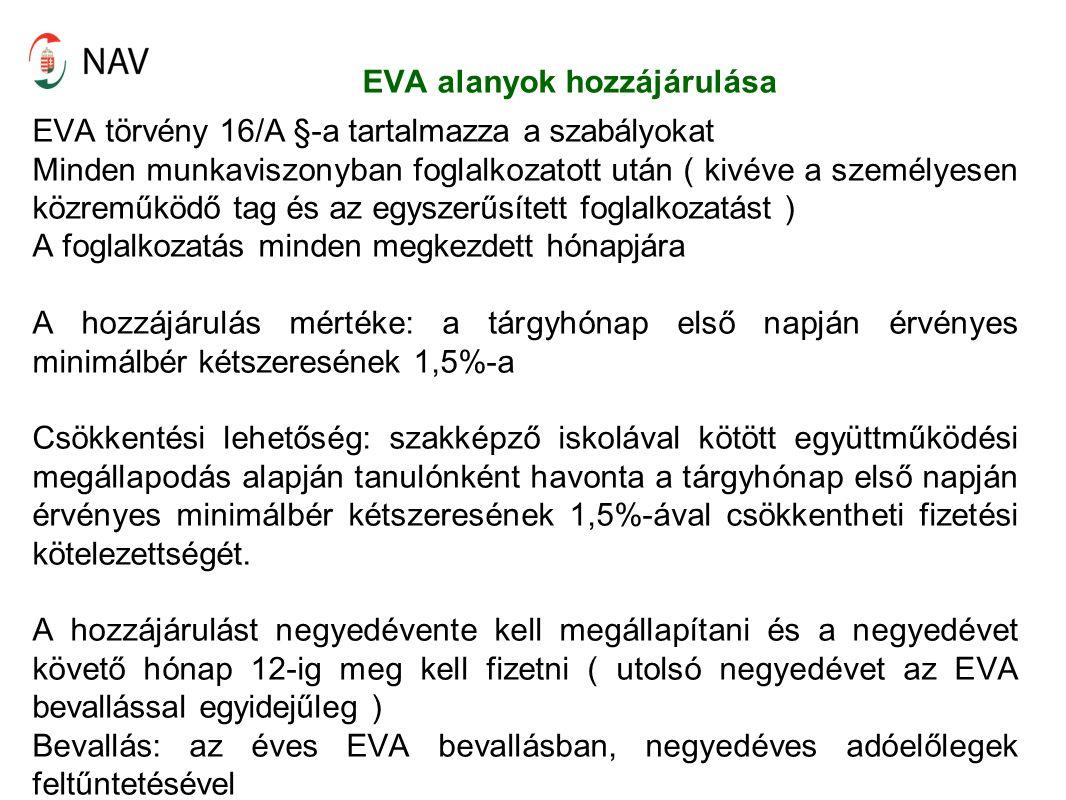 EVA alanyok hozzájárulása EVA törvény 16/A §-a tartalmazza a szabályokat Minden munkaviszonyban foglalkozatott után ( kivéve a személyesen közreműködő tag és az egyszerűsített foglalkozatást ) A foglalkozatás minden megkezdett hónapjára A hozzájárulás mértéke: a tárgyhónap első napján érvényes minimálbér kétszeresének 1,5%-a Csökkentési lehetőség: szakképző iskolával kötött együttműködési megállapodás alapján tanulónként havonta a tárgyhónap első napján érvényes minimálbér kétszeresének 1,5%-ával csökkentheti fizetési kötelezettségét.