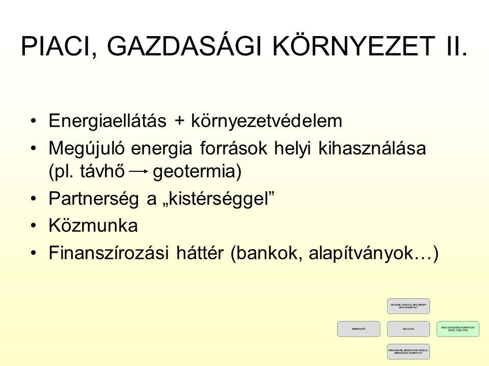 PIACI, GAZDASÁGI KÖRNYEZET II.