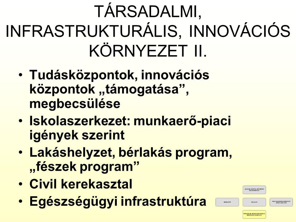 TÁRSADALMI, INFRASTRUKTURÁLIS, INNOVÁCIÓS KÖRNYEZET II.