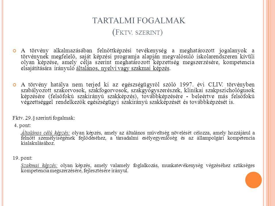TARTALMI FOGALMAK ( F KTV. SZERINT ) A törvény alkalmazásában felnőttképzési tevékenység a meghatározott jogalanyok a törvénynek megfelelő, saját képz