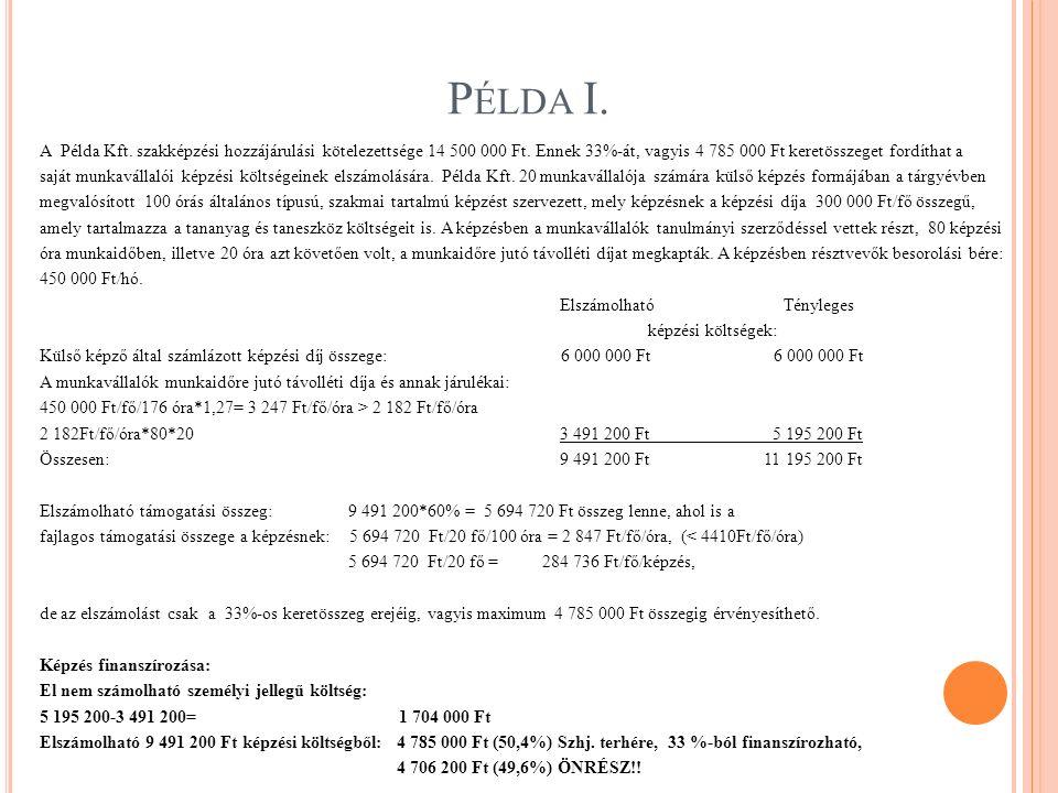 P ÉLDA I. A Példa Kft. szakképzési hozzájárulási kötelezettsége 14 500 000 Ft. Ennek 33%-át, vagyis 4 785 000 Ft keretösszeget fordíthat a saját munka