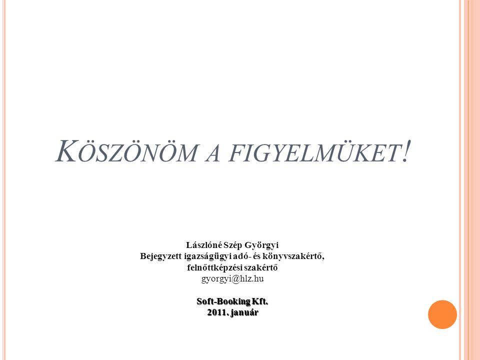 K ÖSZÖNÖM A FIGYELMÜKET ! Lászlóné Szép Györgyi Bejegyzett igazságügyi adó- és könyvszakértő, felnőttképzési szakértő gyorgyi@hlz.hu Soft-Booking Kft.