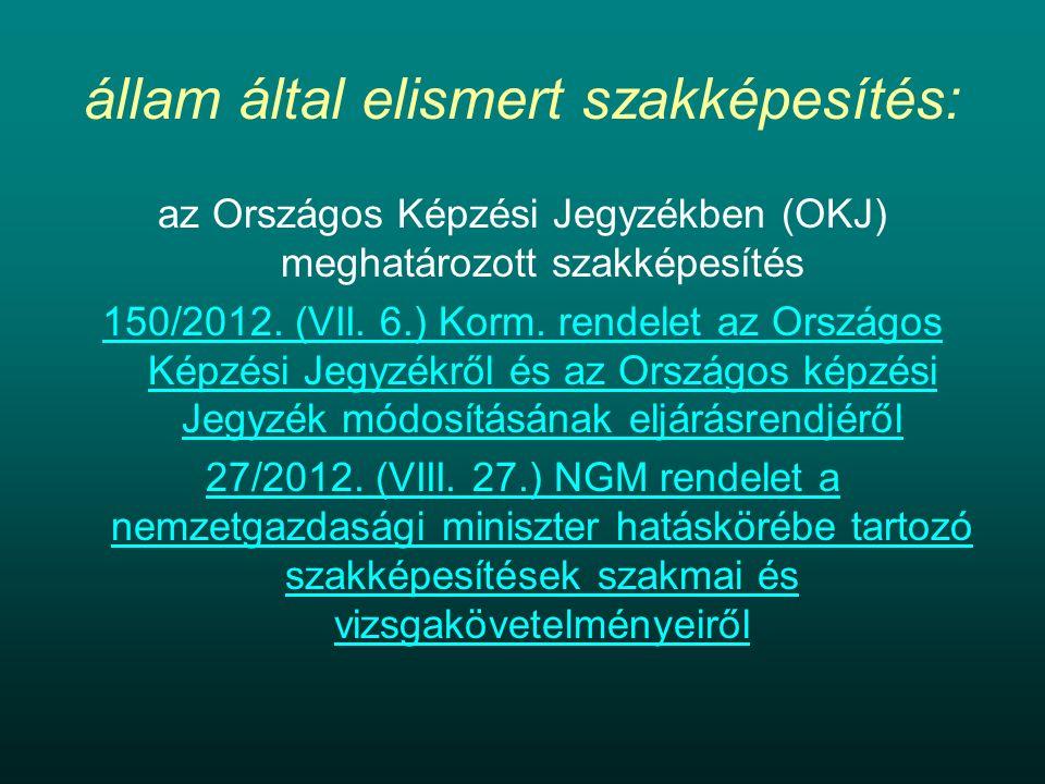 állam által elismert szakképesítés: az Országos Képzési Jegyzékben (OKJ) meghatározott szakképesítés 150/2012.