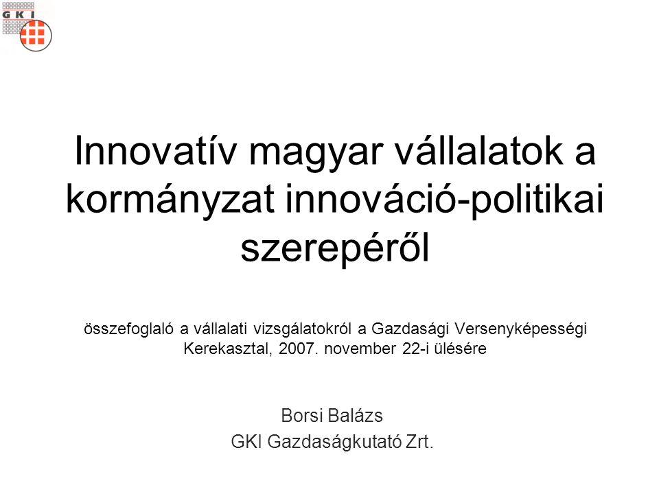 Innovatív magyar vállalatok a kormányzat innováció-politikai szerepéről összefoglaló a vállalati vizsgálatokról a Gazdasági Versenyképességi Kerekasztal, 2007.