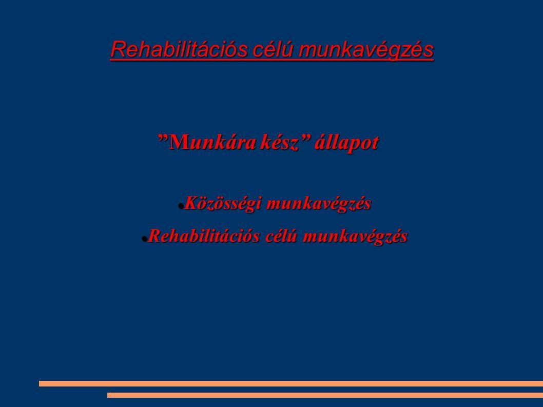 Rehabilitációs célú munkavégzés Munkára kész állapot Közösségi munkavégzés Közösségi munkavégzés Rehabilitációs célú munkavégzés Rehabilitációs célú munkavégzés