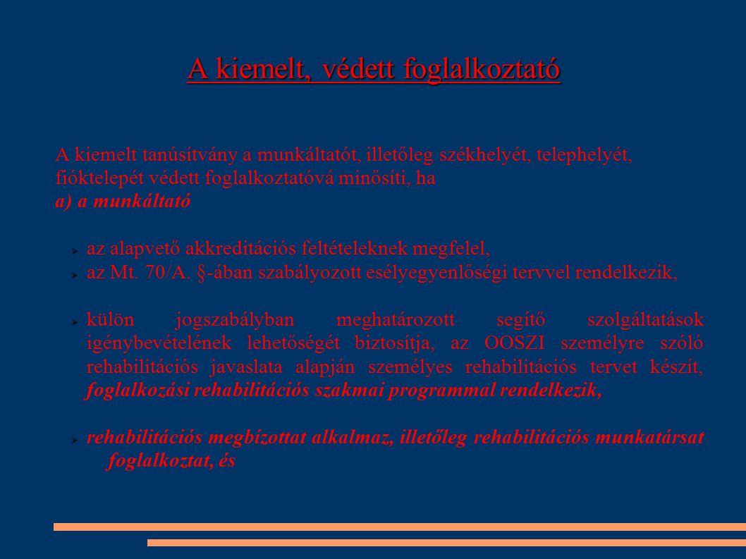 A kiemelt, védett foglalkoztató A kiemelt tanúsítvány a munkáltatót, illetőleg székhelyét, telephelyét, fióktelepét védett foglalkoztatóvá minősíti, h