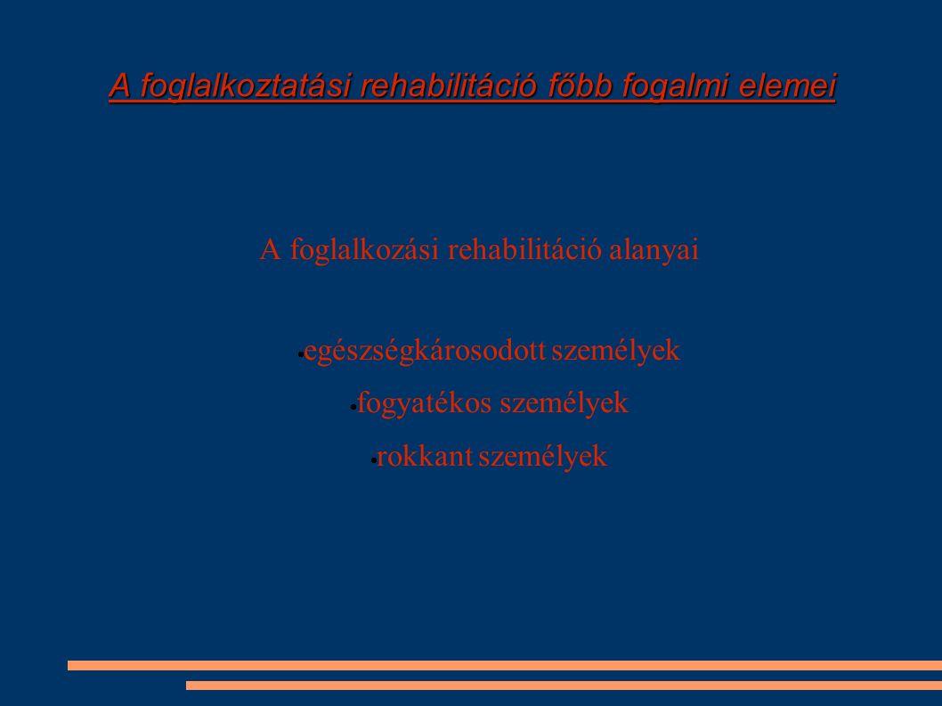 A foglalkoztatási rehabilitáció főbb fogalmi elemei A foglalkozási rehabilitáció alanyai  egészségkárosodott személyek  fogyatékos személyek  rokka