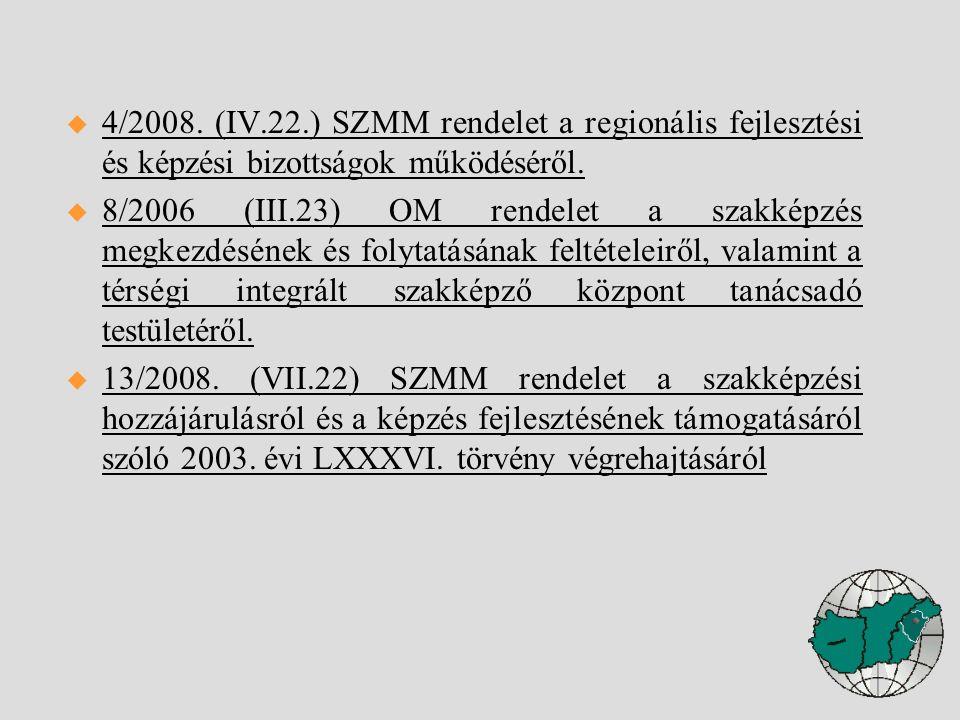  4/2008. (IV.22.) SZMM rendelet a regionális fejlesztési és képzési bizottságok működéséről.